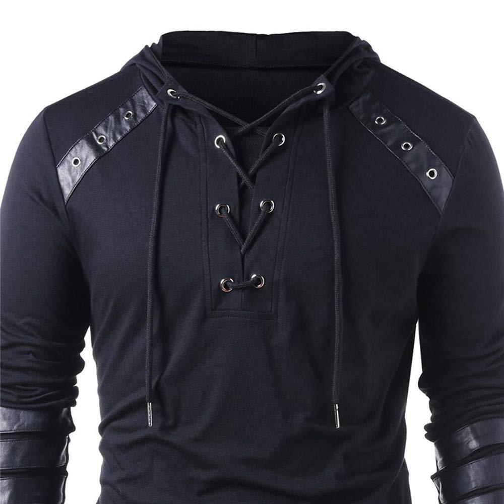 Spring Men Hoodies Drawstring Leather Patchwork Hooded Sweatshirt Long Sleeve Male Pullover Tops