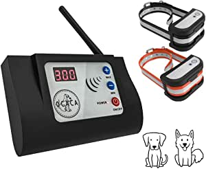 OCACA 2019 Updated Wireless Dog Fence System, Safe Outdoor Electric Beep/Vibration/Shock Collar with Remote, Waterproof and Rechargeable Transmitter and Collar Harmless for All Dogs - 2 Collars