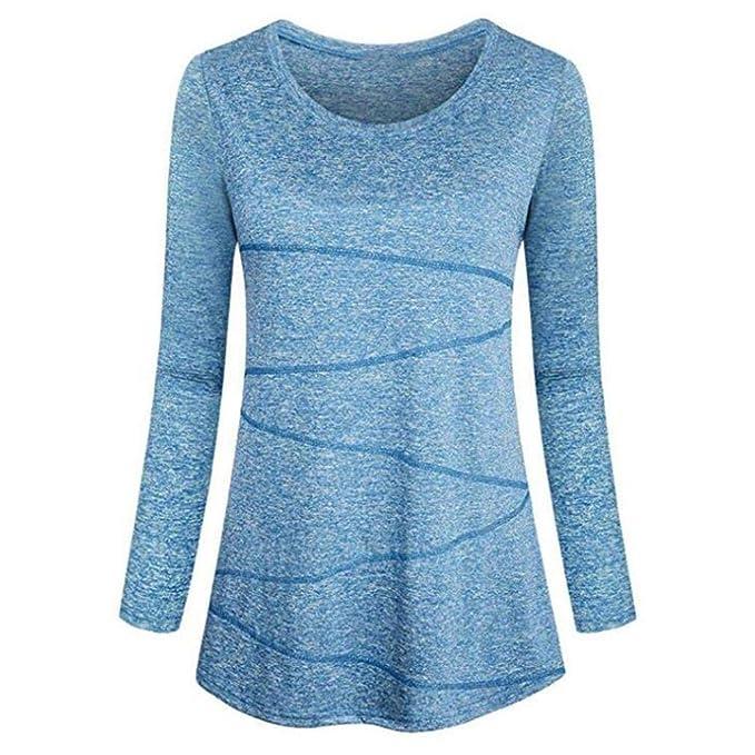 Camisetas para 2018 Otoño Mujer Moda Blusa Ocasional del O-Cuello para Mujer Camiseta de algodón Suéter Sudadera sin Capucha Sudadera Outwear Tops: ...