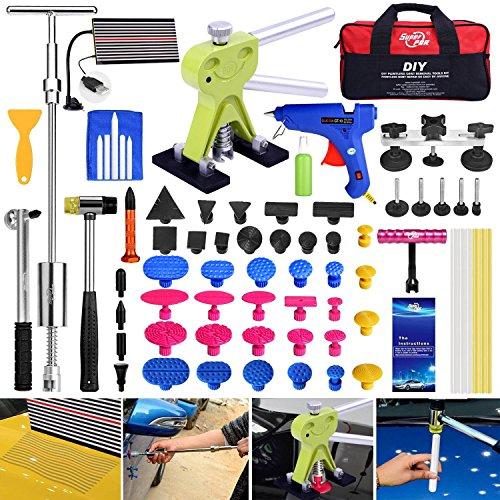 Super PDR 68Pcs Car Auto Body Paintless Dent Repair Tool Kits For Car Hail Damage And Door Dings Repair LED Dent Puller Set Glue Gun Rubber Slide Hammer With bag by Super PDR