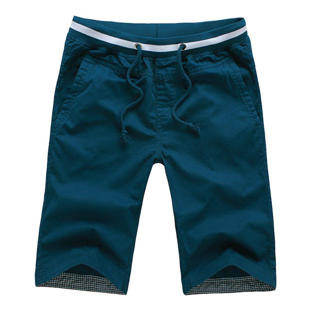 Leward Men's Shorts Casual Classic Fit Drawstring Summer Beach Shorts with Elastic Waist and Pockets 1