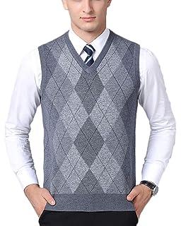 Gilet sans Manches Motif Losange en Tricot Homme Pulls Classique Affaires  Gentleman Tricoté Gilets a2b6a47a8454