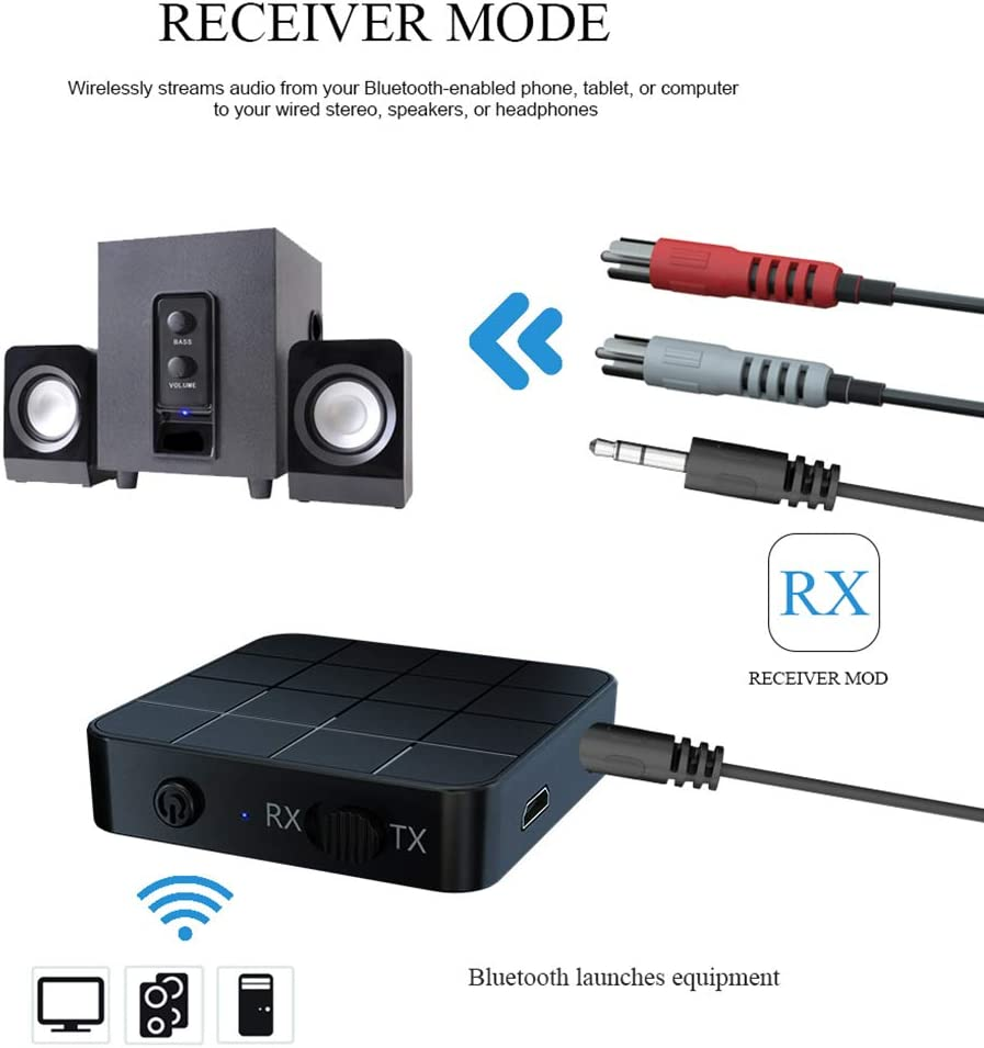 Bluetooth 5.0 Audio Receiver Transmitter 2 in 1 3.5mm jack AUX RCA Stereo Music Wireless Adapter for TV Speakers