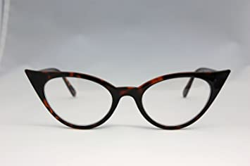 c8e3c490a3 Image Unavailable. Image not available for. Colour  Tortoise Frame Cateye  VTG 50s 60s Style Clear ...