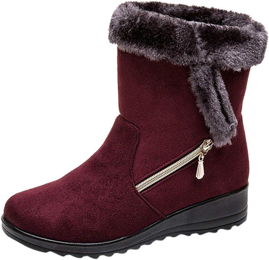 Women Snow Boots Winter Ladies Solid Buckle Ankle Short Bootie Waterproof Footwear Warm Shoes