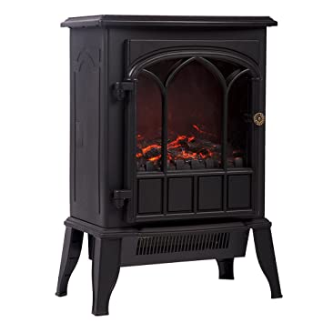 750W/1500W Free Standing Portable Fireplace Heat Log Flame Stove: Home & Kitchen
