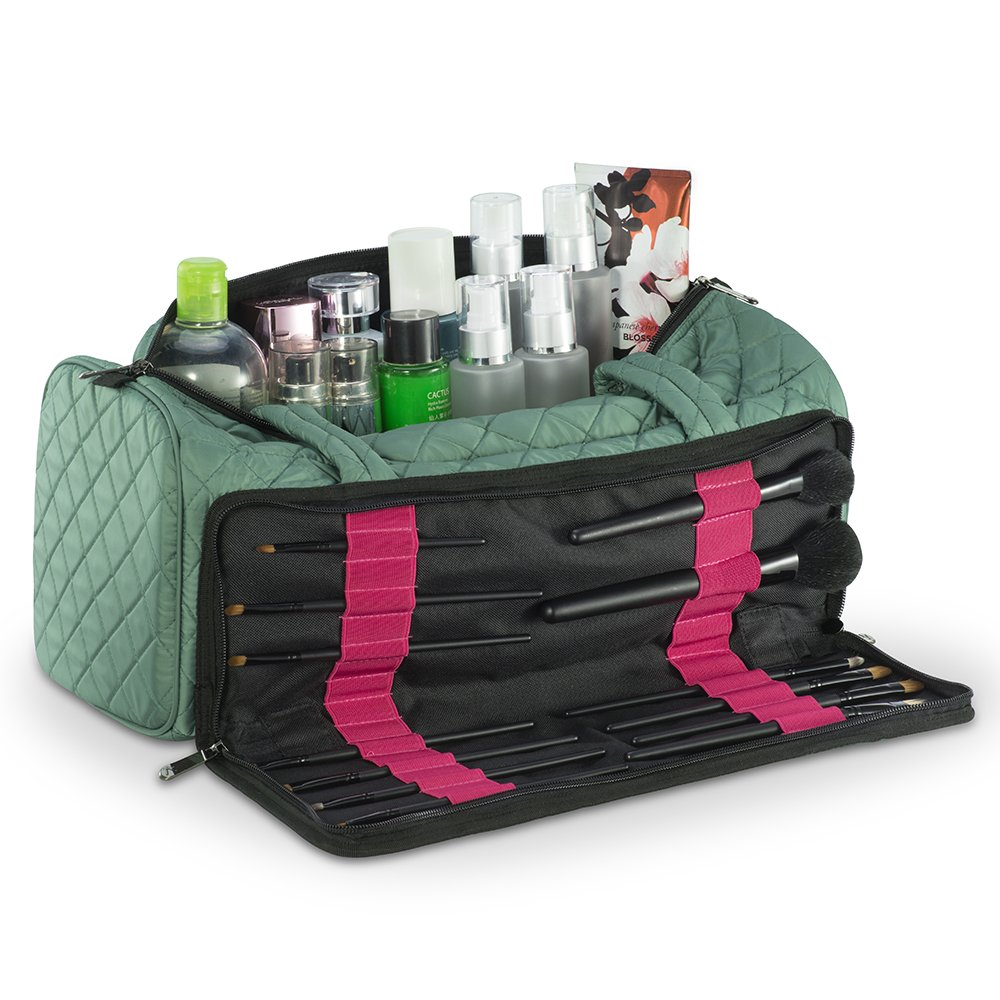 KIOTA Quilited Makeup Brush Bag - Fits both Bottles and Cosmetic Brushes - Beauty Case with Lipstick Slots - Teal