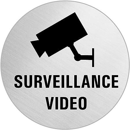 OFFORM Plaque de Porte Pictogramme Video Surveillance Acier Inox Bross/é /Ø 75 mm No.39280