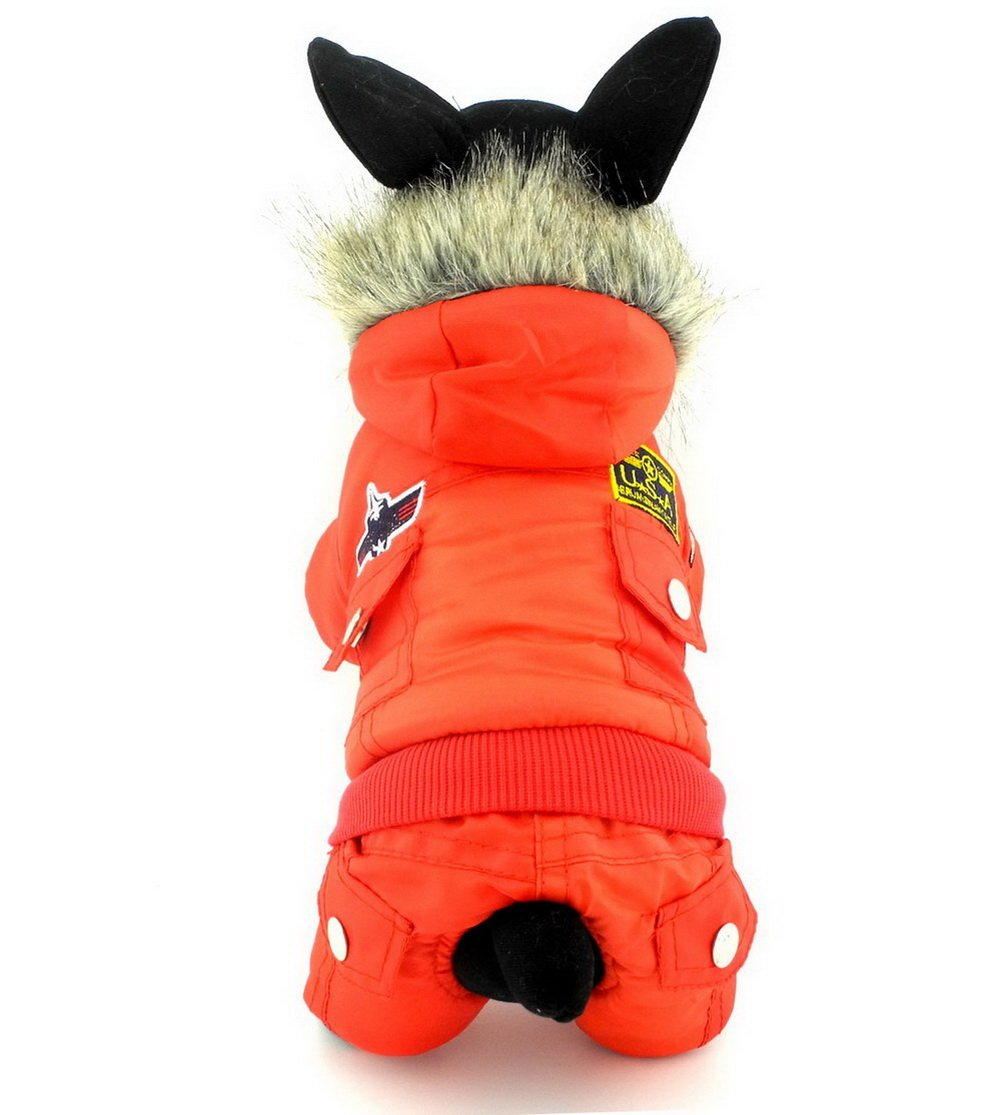 Ranphy Waterproof Dog Hoodie Coat Pet Fleece Lined Clothes Puppy Cotton Padded Jumpsuit Cold Weather Hooded Snowsuit Airman Jacket Warm Cat Clothes Chihuahua Outfits Parka Girls Boys Red S