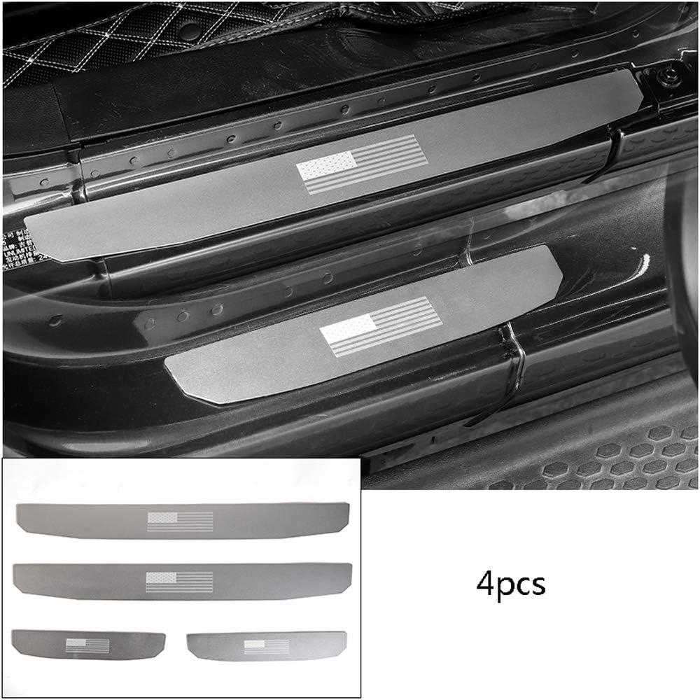 en Alliage daluminium Plaque Porte Sill Autocollant Scuff Cover pour Jeep Wrangler JL 2018-2019,4doors,Wings D28JD Protecteur de seuil de Porte