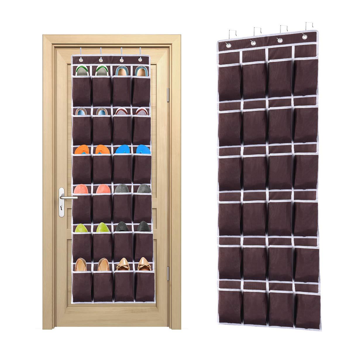Ecbrt Over the Door Shoe Organiser 24 Pockets Hanging Shoe Holder with 4 Metal Hooks