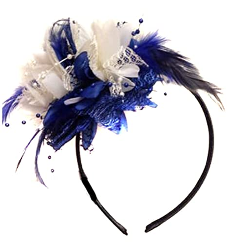 Bibi sur serre-tête bleu marine et crème, idéal pour un mariage ... a188964d6ca