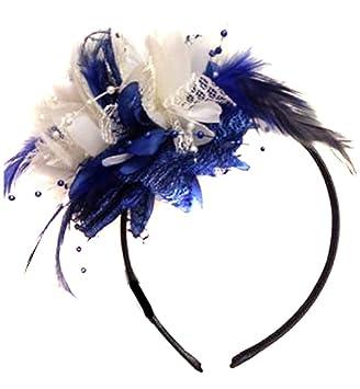 nouveau sélection style classique de 2019 promotion spéciale Bibi sur serre-tête bleu marine et crème, idéal pour un mariage