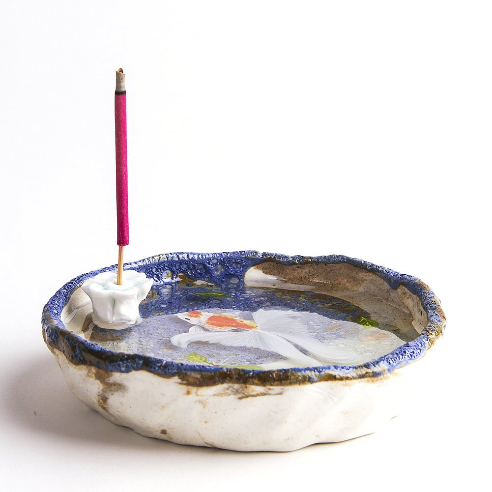 Artcer Ceramic Handmade Lotus Incense Holder Golden Fish Painting Ash Catcher Plate,White-Blue by Artcer (Image #4)