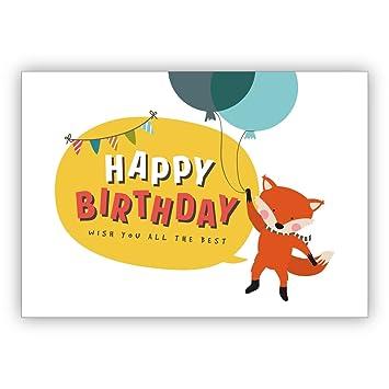Susse Geburtstagskarte Mit Fliegendem Fuchs An Ballons Happy Birthday Wish You All The Best O