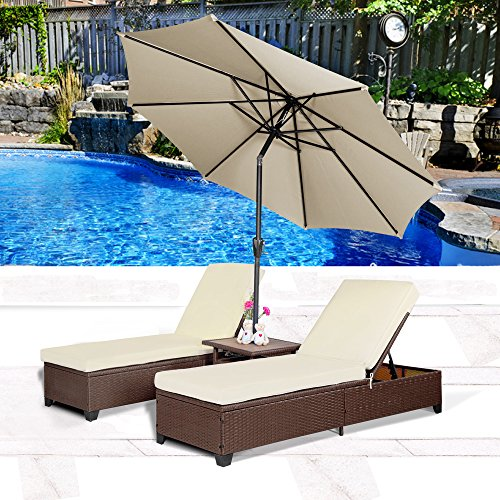 Cloud Mountain 4PC Outdoor Rattan Chaise Lounge Chair with 9' Umbrella Patio PE Wicker Rattan Adjustable Pool Lounge Chairs Table, Creamy White Brown ()