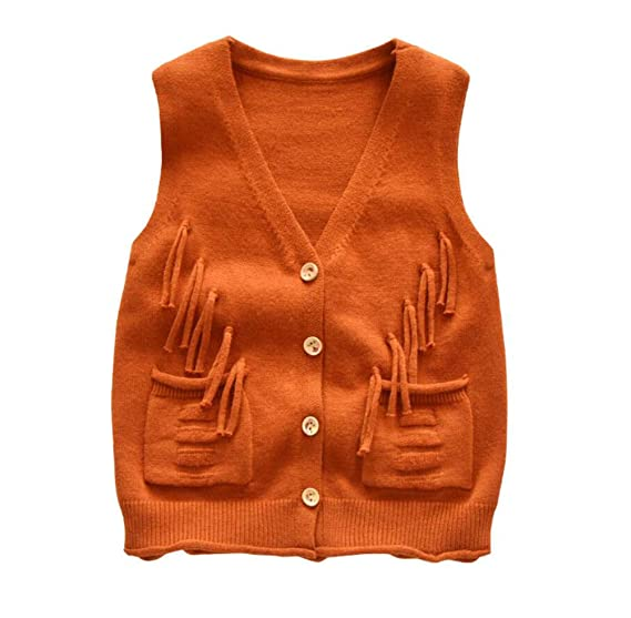 f978201557ad Amazon.com  Hwafan Baby Boys Girls Knit Tassel Sweater Vest Kids ...
