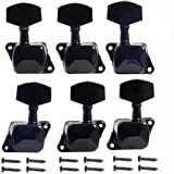Musiclily 3+3 Semiclosed Guitar Tuners Tuning Keys Pegs Machine Heads Set, Black