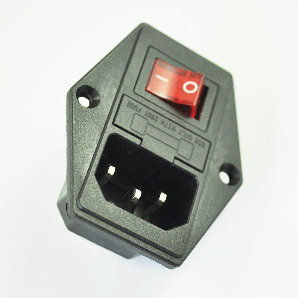 SODIAL(R) 3 Pin IEC320 C14 Enchufe de Modulo de Entrada Interruptor Fusible Macho
