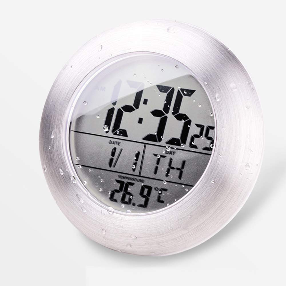 timecapsule 6.8''Large Waterproof Bathroom Shower Clock Wall Silver Aluminum Date Day Indoor Temperature Suction Cup and Stand (Aluminum Finish) (White) by timecapsule