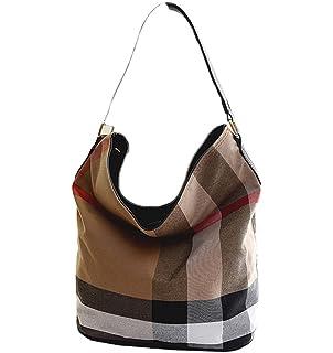 a3d21078390ea wewo Modisch Canvas Damen Schultertasche kariert Handtasche mädchen  umhängetasche Vintage henkeltaschen lässig damentaschen Shopper Bucket Bag