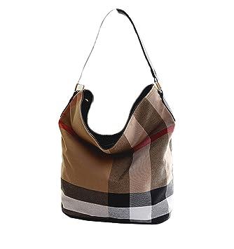 44c91ce2cf14b wewo Modisch Canvas Damen Schultertasche kariert Handtasche mädchen  umhängetasche Vintage henkeltaschen lässig damentaschen Shopper Bucket Bag