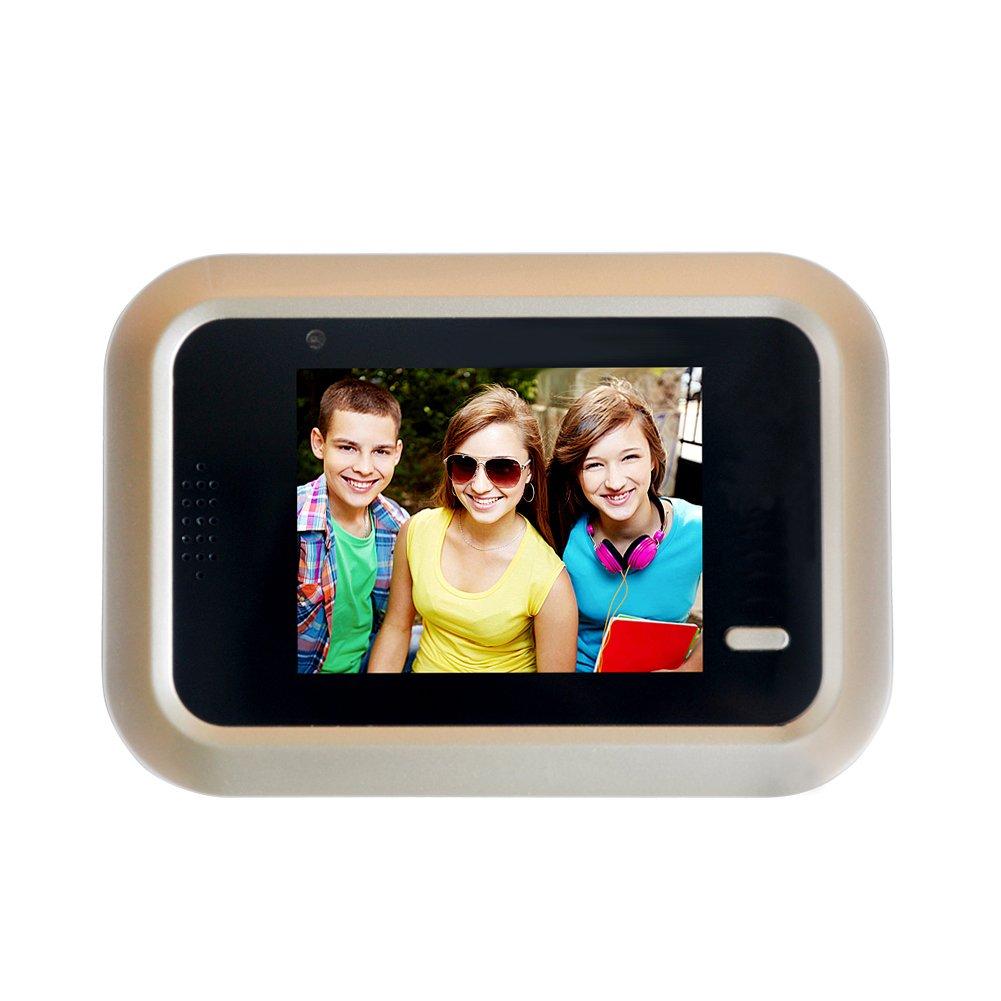2.4inch Visual Doorbell Monitor Camera Smart Hidden Type Electronic Door Viewer Intercom Anti-burglary Peephole Detection Home Use(1469275MM,gold)