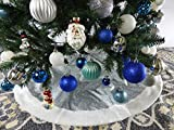39.4' Silver Glitter Fabric Christmas Tree Skirt - Silver