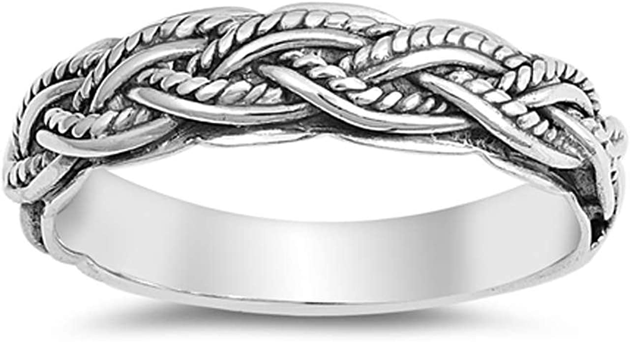 CloseoutWarehouse Oxidized Sterling Silver Rope Braided Band Ring