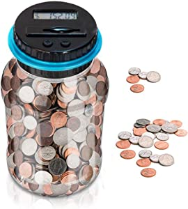 Digital Coin Bank Counting Money Jar Organizer,WanHua Jumbo Coin Big Piggy Bank Saving Jar Automatic for Kids,Adults, Girls and Boys