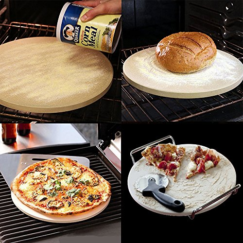 Pizza Stone for Oven 15 x 3/5'' BBQ Baking Stone Round Grilling Ceramic Pan with Cutter Handle Set, 15X3/5'' by GOVOG (Image #2)