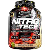 MuscleTech NitroTech Protein Powder Plus Muscle Builder, 100% Whey Protein with Whey Isolate, Banana Bliss, 40 Servings (4lbs)