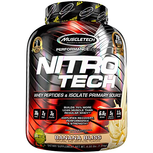 MuscleTech NitroTech Protein Powder, 100% Whey Protein with Whey Isolate, Banana Bliss, 4 (Eas L-glutamine Powder)