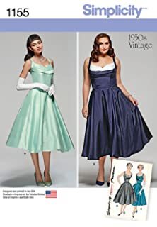 Simplicity 1950s Vintage Pattern 1155 Womens Vintage Style Dress Sizes ...