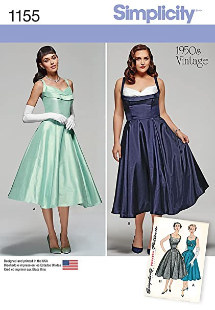 Amazon.com: Simplicity 1155 Women\'s Plus Size 1950s\' Vintage ...