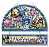 Stained Glass Suncatcher 12'' X 11'' Welcome Iris Butterflies