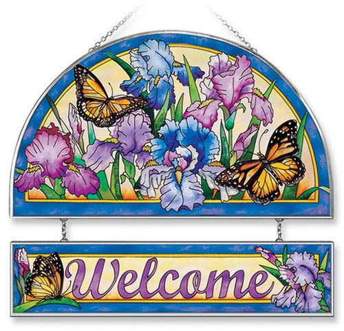 Stained Glass Suncatcher 12'' X 11'' Welcome Iris Butterflies