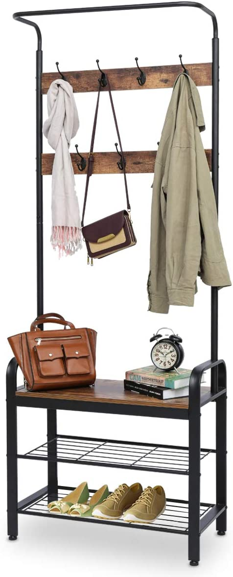9 Hooks Modern Umbrella Scarf Purse Stand Internets Best Standing Coat and Hat Rack Wooden Black Finish