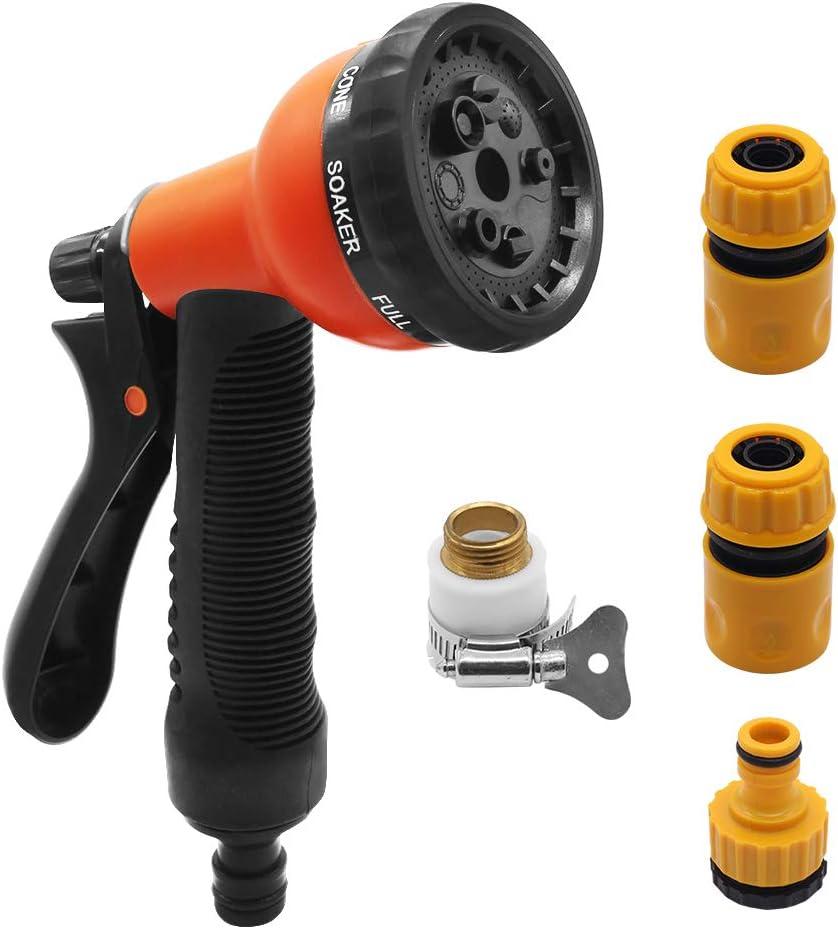 Aiooy Garden Hose Nozzle, High Pressure Heavy Duty Metal Hose Spray Nozzle, 9 Adjustable Patterns Front Trigger Hose Sprayer Water Hose Nozzle