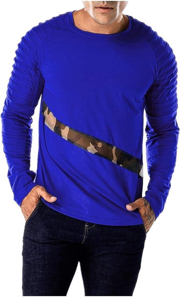 JURTEE Camiseta para Hombre Remiendo De Malla Delgada Pullover ...