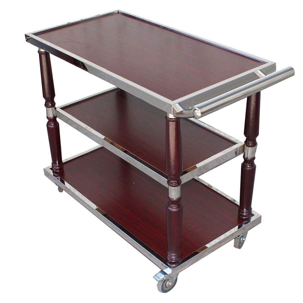 SQINAA 3-Shelf Wooden Kitchen cart,Multi-Purpose bar cart Serving cart with 4 Wheels Night Stand Table Sofa Table End Table for Restaurant Hotel-A 90x45x85.5cm(35x18x34)