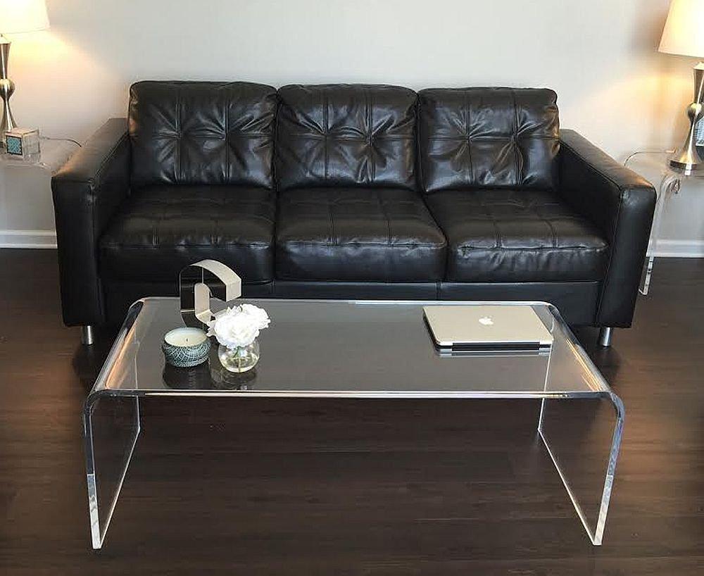Acrylic Glass Coffee Table Amazoncom Acrylic Coffee Waterfall Table Lucite 50 Long X 20 X