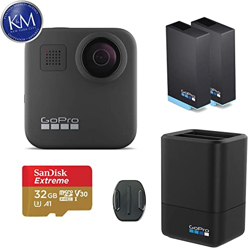 GoPro MAX 360 Action Camera w GoPro Dual Lithium-Ion Battery Charger with 1 x Battery and 32GB Memory Card