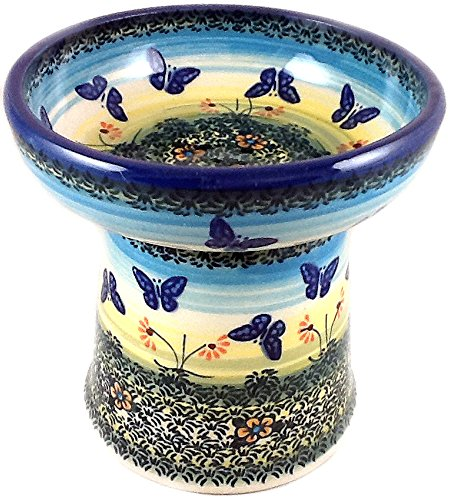polish-pottery-raised-dry-food-dish-cat-small-dog-wkm-flutterby-butterflies