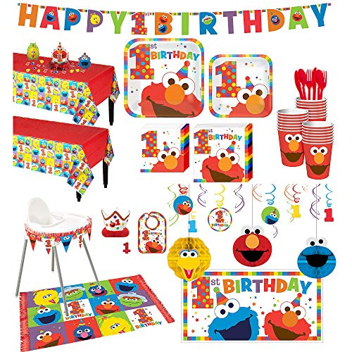 Party City 1st Birthday Elmo Deluxe Party Kit for 32 Guests, Includes High Chair Decorating Kit, Candle and More ()