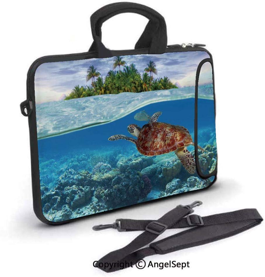 15 inch Laptop Sleeve Case,Green Turtle Underwater,Waterproof,Portable,Compatible iPad,MacBook Pro,Air,Surface