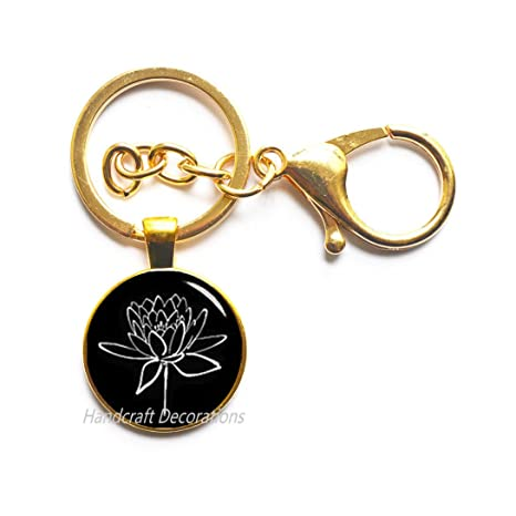 Amazon.com: Llavero de loto con flor de loto, llavero de ...