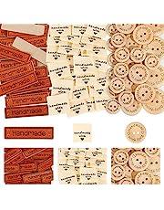 350 Pcs/Set (100 Pcs Leather Handmade Labels + 100 Pcs Fabric Handmade Labels + 150 Pcs Wooden Buttons 15mm 20mm 25mm) for Knitting, Crafting and Sewing