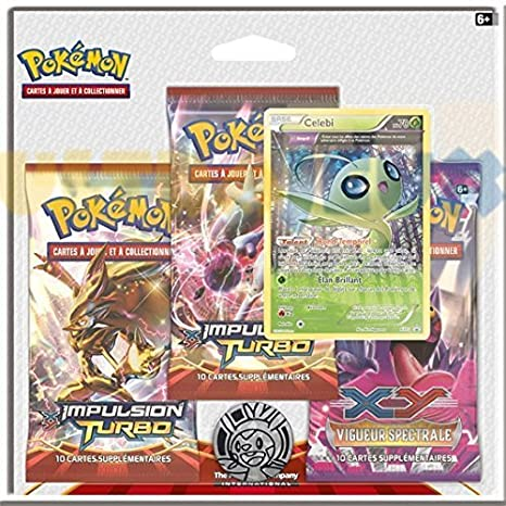 Pokémon - Juego de 3 paquetes de cartas de expansión XY-TURBO Impulso de Celebi [texto en francés]: Amazon.es: Juguetes y juegos