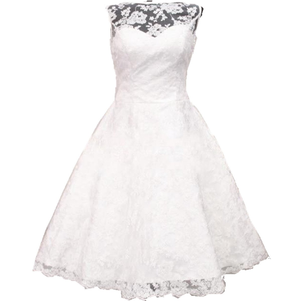 Zorabridal Women's Sheer A-line Tea Length Lace Short Wedding Gowns (18 Plus, White)